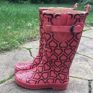 $  bay Pink heart rain boots size 5